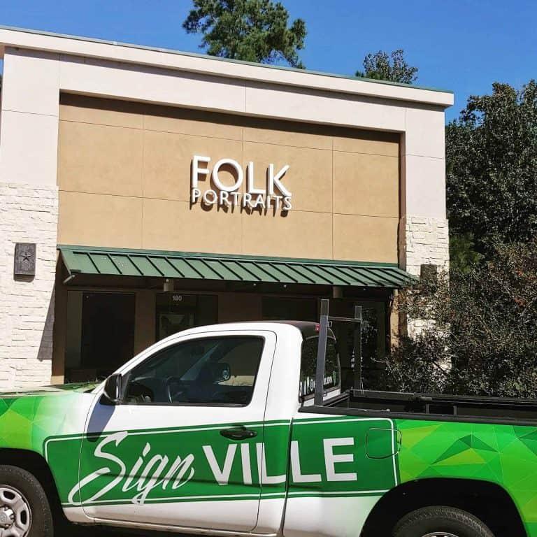 FOLK Reverse Lit Letters Signville
